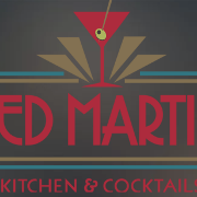 This is the restaurant logo for Red Martini Kitchen & Cocktails