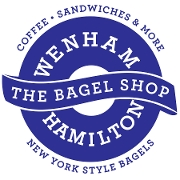 This is the restaurant logo for The Bagel Shop