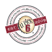 This is the restaurant logo for U Pick 6 Public House