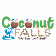 This is the restaurant logo for Coconut Falls Tiki Bar & Grill