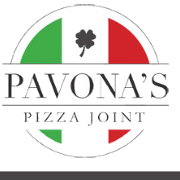 This is the restaurant logo for Pavona's Pizza Joint