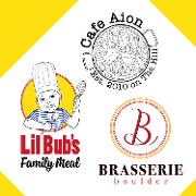 This is the restaurant logo for Brasserie Boulder + Cafe Aion + Lil Bub's Family Meal
