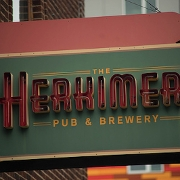 This is the restaurant logo for The Herkimer Pub & Brewery