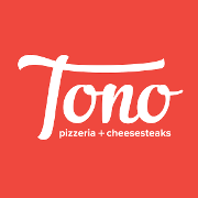This is the restaurant logo for Tono Pizzeria + Cheesesteaks