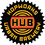 This is the restaurant logo for Hopworks Urban Brewery