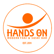 This is the restaurant logo for Hands On Thai & Sushi