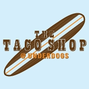 This is the restaurant logo for The Taco Shop at Underdogs