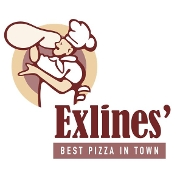 This is the restaurant logo for Exlines' Best Pizza in Town