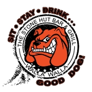 This is the restaurant logo for Stone Hut Bar and Grill