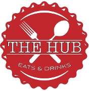 This is the restaurant logo for The Hub Eats & Drinks