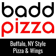 This is the restaurant logo for baddpizza - Falls Church