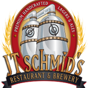 This is the restaurant logo for JT Schmid's Restaurant & Brewery