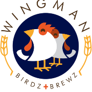 This is the restaurant logo for Wingman Birdz + Brewz