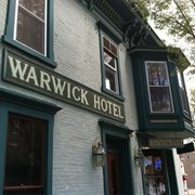 This is the restaurant logo for The Warwick Hotel