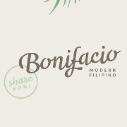This is the restaurant logo for Bonifacio: Modern Filipino