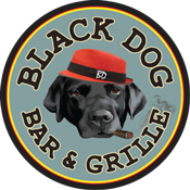 This is the restaurant logo for Black Dog Bar and Grille
