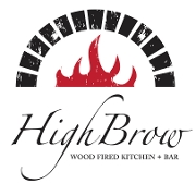 This is the restaurant logo for HighBrow Wood Fired Kitchen + Bar