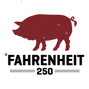 This is the restaurant logo for Fahrenheit 250 BBQ