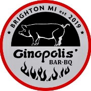 This is the restaurant logo for GINOPOLIS' BAR-BQ SMOKEHOUSE