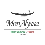 This is the restaurant logo for MonAlyssa Italian Restaurant & Pizzeria