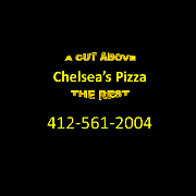 This is the restaurant logo for Chelsea's Pizza