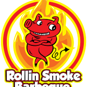 This is the restaurant logo for Rollin' Smoke BBQ: Highland