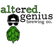 This is the restaurant logo for Altered Genius Brewing Company