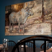 This is the restaurant logo for The Blue Ox