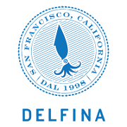 This is the restaurant logo for Delfina Restaurant