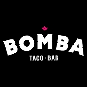 This is the restaurant logo for BOMBA Taco + Bar
