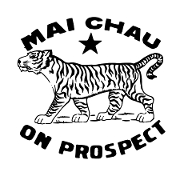 This is the restaurant logo for Mai Chau/Three Tigers