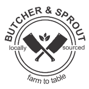 This is the restaurant logo for Butcher & Sprout