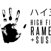 This is the restaurant logo for High Five Ramen + Sushi