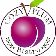 This is the restaurant logo for Cozy Plum Bistro