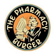 This is the restaurant logo for The Pharmacy Burger Parlor and Beer Garden