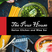 This is the restaurant logo for Pour House Italian Kitchen and Wine Bar