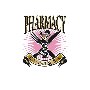 This is the restaurant logo for Pharmacy Kitchen & Bar