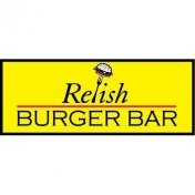 This is the restaurant logo for Relish Burger Bar