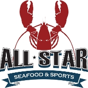 This is the restaurant logo for All Star Seafood & Sports