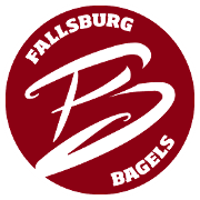 This is the restaurant logo for Fallsburg Bagels + Cafe