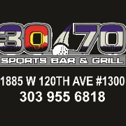 This is the restaurant logo for 30/70 Sports Bar & Grill