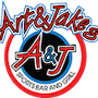 This is the restaurant logo for Art & Jake's Sports Bar & Grill