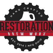 This is the restaurant logo for Restoration Brew Worx