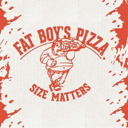 This is the restaurant logo for Fat Boy's Pizza