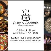 This is the restaurant logo for Curry & Cocktails