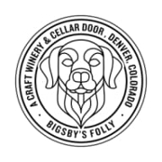 This is the restaurant logo for Bigsby's Folly Craft Winery & Restaurant