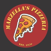 This is the restaurant logo for Marzella's Pizza