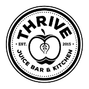 This is the restaurant logo for THRIVE JUICE BAR & KITCHEN