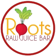 This is the restaurant logo for Roots Raw Juice Bar