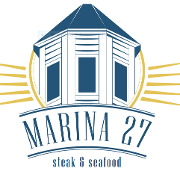 This is the restaurant logo for Marina 27 Steak and Seafood